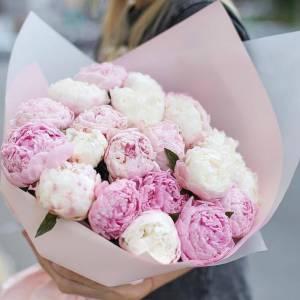 Нежный букет 17 розовых пионов с упаковкой R633